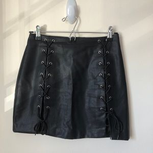 Forever 21 Lace Up Faux Leather Mini Skirt